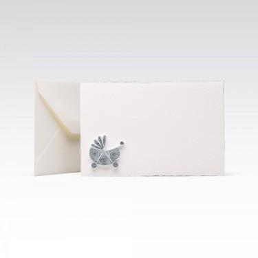 Quilling Card - Blue pram